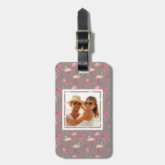 Custom Photo Retro Flamingos Luggage Tag