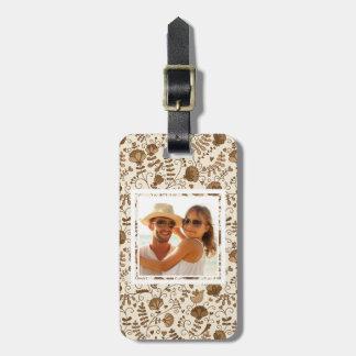 Custom Photo Retro floral pattern Luggage Tag