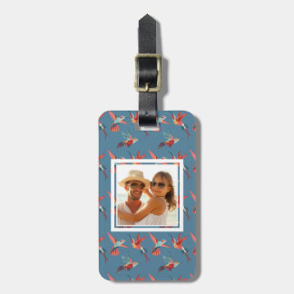 Custom Photo Retro Hummingbird Pattern Luggage Tag