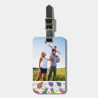 Custom Photo Retro Pineapple Pattern Luggage Tag