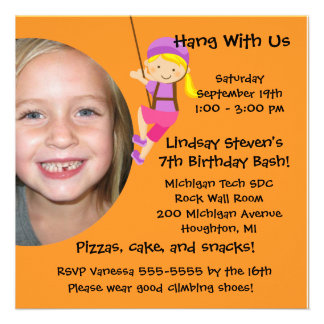 Custom Photo Rock Wall Birthday Invitation