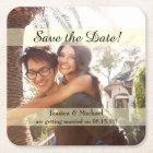 Custom Photo Save the Date Square Paper Coaster