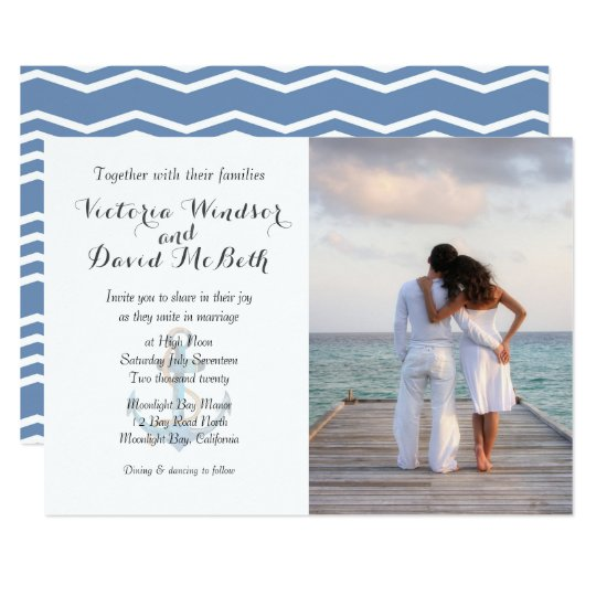 Custom Photo Sea Blue Beach Wedding Invitation