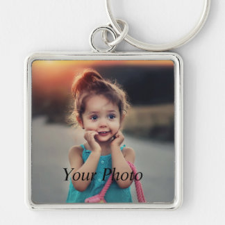 Custom Photo Silver-Colored Square Key Ring