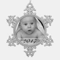 Custom Photo Snowflake Ornament with Date