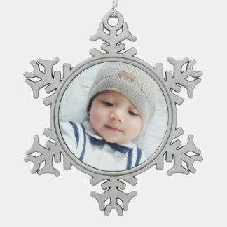 Custom Photo Snowflake Pewter Christmas Ornament