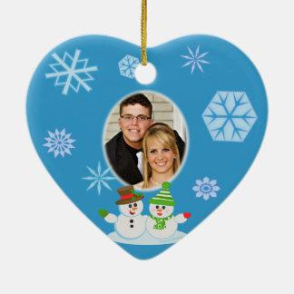 Custom Photo Snowman Couple's First Christmas Christmas Ornament