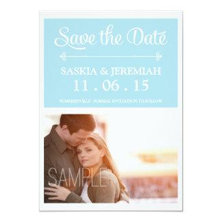 Custom Photo Soft Blue Save the Date Card