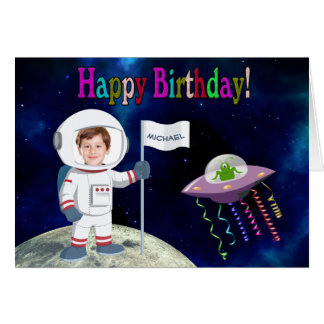 Custom Photo Spaceman Birthday Card