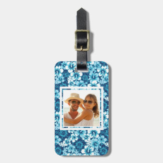 Custom Photo Surf Floral Hibiscus Pattern Luggage Tag