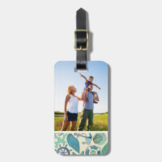 Custom Photo Teal Sea Animals Pattern Luggage Tag