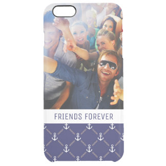 Custom Photo & Text Anchor pattern Clear iPhone 6 Plus Case