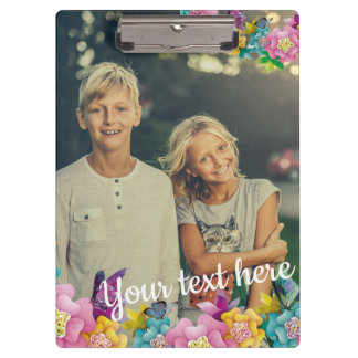 Custom Photo Text Animated Flowers and Butterflies Clipboard