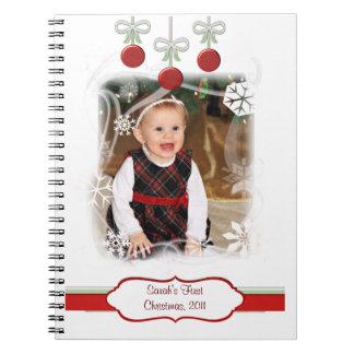 Custom Photo & Text Baby's 1st Christmas Notebook