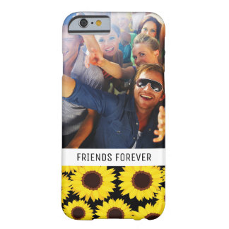 Custom Photo & Text Background with sunflowers Barely There iPhone 6 Case
