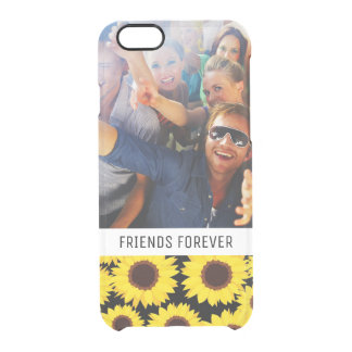 Custom Photo & Text Background with sunflowers Clear iPhone 6/6S Case