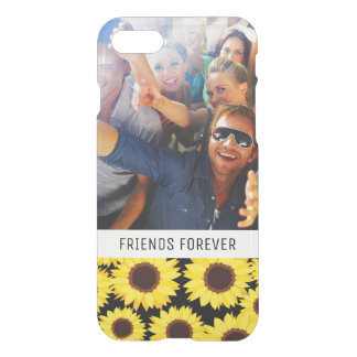 Custom Photo & Text Background with sunflowers iPhone 8/7 Case