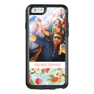 Custom Photo & Text beige & red flowers pattern OtterBox iPhone 6/6s Case