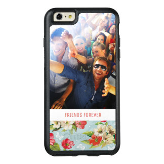 Custom Photo & Text beige & red flowers pattern OtterBox iPhone 6/6s Plus Case