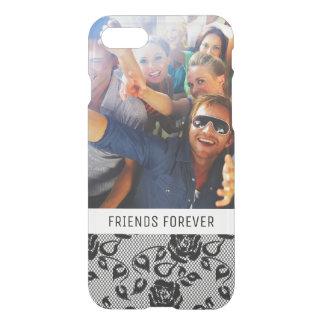 Custom Photo & Text Black lace pattern iPhone 8/7 Case