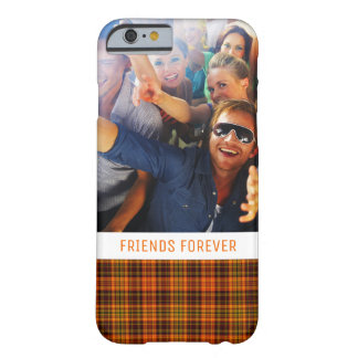 Custom Photo & Text Bright Fall Plaid Barely There iPhone 6 Case