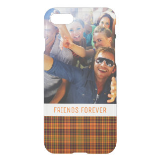 Custom Photo & Text Bright Fall Plaid iPhone 8/7 Case