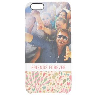 Custom Photo & Text Bright floral pattern Clear iPhone 6 Plus Case