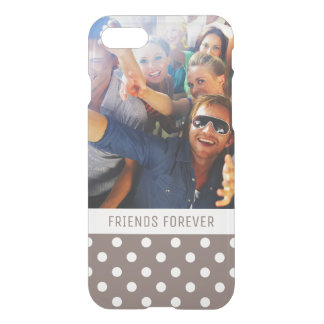 Custom Photo & Text Brown Polka Dots iPhone 8/7 Case