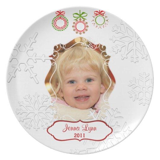 Custom Photo & Text Christmas Keepsake Plate