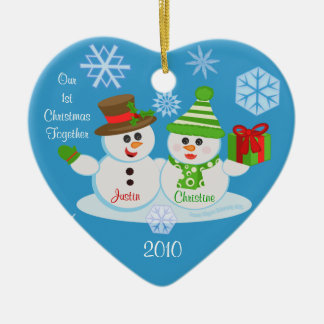 Custom Photo & Text Couple's First Christmas Ceramic Heart Decoration