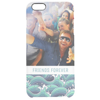 Custom Photo & Text Decorative Sea Wave Clear iPhone 6 Plus Case