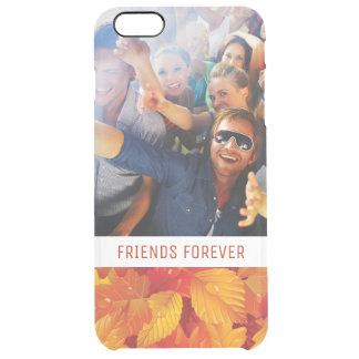 Custom Photo & Text Fallen Wet Leaves Clear iPhone 6 Plus Case