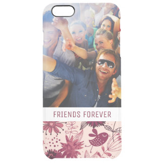 Custom Photo & Text Floral pattern with birds Clear iPhone 6 Plus Case