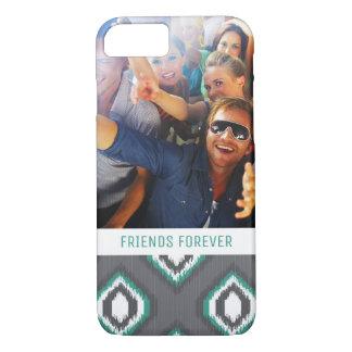 Custom Photo & Text Geometric Retro Ikat Pattern iPhone 8/7 Case