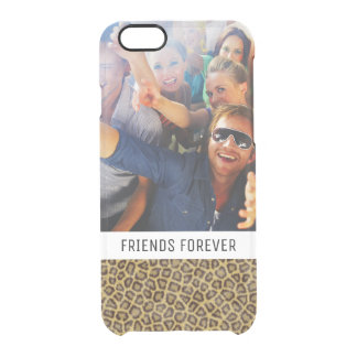 Custom Photo & Text Leopard Fur Clear iPhone 6/6S Case