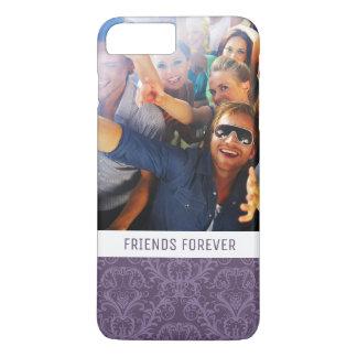 Custom Photo & Text Luxury Purple Wallpaper iPhone 8 Plus/7 Plus Case