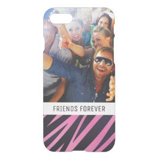 Custom Photo & Text Pink Zebra Stripe Background iPhone 8/7 Case