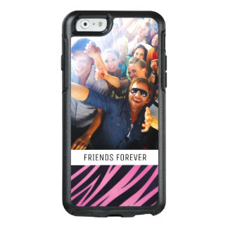 Custom Photo & Text Pink Zebra Stripe Background OtterBox iPhone 6/6s Case