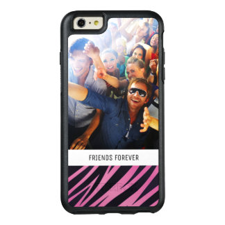 Custom Photo & Text Pink Zebra Stripe Background OtterBox iPhone 6/6s Plus Case