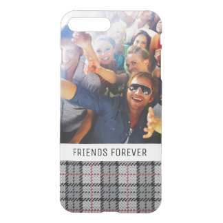 Custom Photo & Text Pixel Plaid in Grey & Red iPhone 8 Plus/7 Plus Case