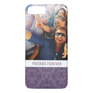 Custom Photo & Text Purple floral wallpaper 2 iPhone 8 Plus/7 Plus Case