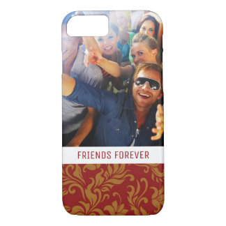 Custom Photo & Text Red and Gold Floral Pattern iPhone 8/7 Case