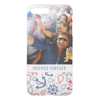Custom Photo & Text Red and Navy with Anchor iPhone 8 Plus/7 Plus Case