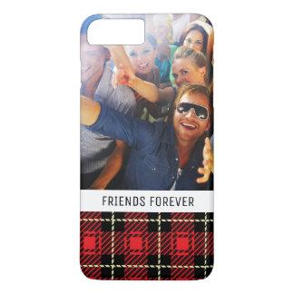 Custom Photo & Text Red Plaid Background iPhone 8 Plus/7 Plus Case