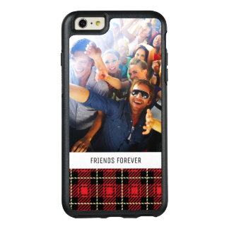 Custom Photo & Text Red Plaid Background OtterBox iPhone 6/6s Plus Case