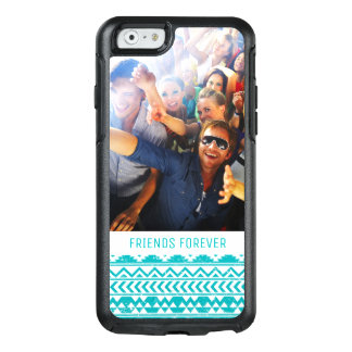 Custom Photo & Text Teal Aztec Tribal Pattern OtterBox iPhone 6/6s Case
