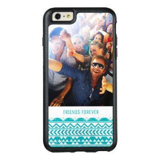 Custom Photo & Text Teal Aztec Tribal Pattern OtterBox iPhone 6/6s Plus Case