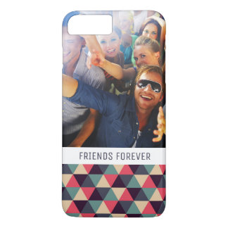 Custom Photo & Text Teal & Pink Triangle Pattern iPhone 8 Plus/7 Plus Case