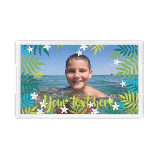Custom Photo Text Tropical Green Leaves Borders Acrylic Tray