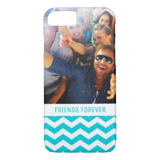 Custom Photo & Text White and Aqua Zig Zag Pattern iPhone 8/7 Case